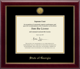 State of Georgia Certificate Frame - Gold Engraved Medallion Certificate Frame in Gallery