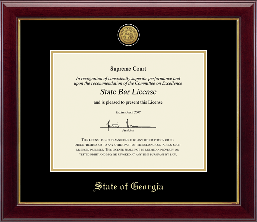 State Of Georgia Gold Engraved Medallion Certificate Frame In Gallery