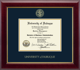 University of Dubuque Diploma Frame - Gold Embossed Diploma Frame in Gallery