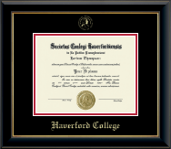 Haverford College Diploma Frame - Gold Embossed Diploma Frame in Onyx Gold