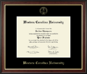 Western Carolina University Diploma Frame - Gold Embossed Diploma Frame in Studio Gold