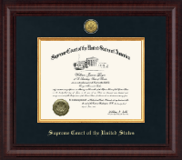 Supreme Court of the United States Certificate Frame - Presidential Gold Engraved Certificate Frame in Premier