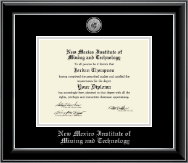 New Mexico Institute of Mining & Technology Diploma Frame - Silver Engraved Medallion Diploma Frame in Onyx Silver
