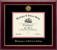Washington & Jefferson College Diploma Frame - Gold Engraved Medallion Diploma Frame in Gallery