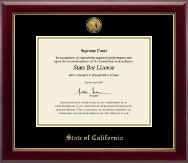 State of California Certificate Frame - Gold Engraved Medallion Certificate Frame in Gallery