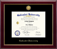 Gallaudet University Diploma Frame - Gold Engraved Medallion Diploma Frame in Gallery