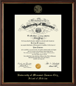 University of Missouri Kansas City Diploma Frame - Gold Embossed Diploma Frame in Williamsburg