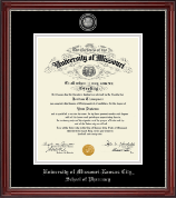 University of Missouri Kansas City Diploma Frame - Masterpiece Medallion Diploma Frame in Kensington Silver