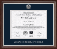 Mount Sinai School of Medicine Diploma Frame - Silver Engraved Medallion Diploma Frame in Devonshire