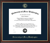 University of Mary Washington Diploma Frame - Gold Embossed Diploma Frame in Studio Gold