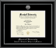 Marshall University Diploma Frame - Silver Embossed Diploma Frame in Onyx Silver