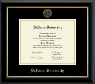 DePauw University Diploma Frame - Gold Embossed Diploma Frame in Onyx Gold
