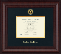 Colby College Diploma Frame - Presidential Gold Engraved Diploma Frame in Premier