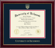 University of Richmond Diploma Frame - Gold Embossed Diploma Frame in Gallery
