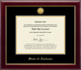 State of Alabama Certificate Frame - Gold Engraved Medallion Certificate Frame in Gallery
