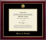 State of Alaska Certificate Frame - Gold Engraved Medallion Certificate Frame in Gallery