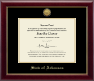 State of Arkansas Certificate Frame - Gold Engraved Medallion Certificate Frame in Gallery