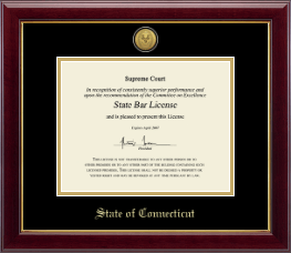 State of Connecticut Certificate Frame - Gold Engraved Medallion Certificate Frame in Gallery