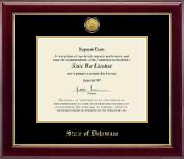 State of Delaware Certificate Frame - Gold Engraved Medallion Certificate Frame in Gallery