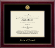 State of Hawaii Certificate Frame - Gold Engraved Medallion Certificate Frame in Gallery