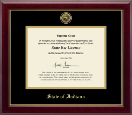 State of Indiana Certificate Frame - Gold Engraved Medallion Certificate Frame in Gallery