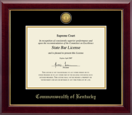Commonwealth of Kentucky Certificate Frame - Gold Engraved Medallion Certificate Frame in Gallery
