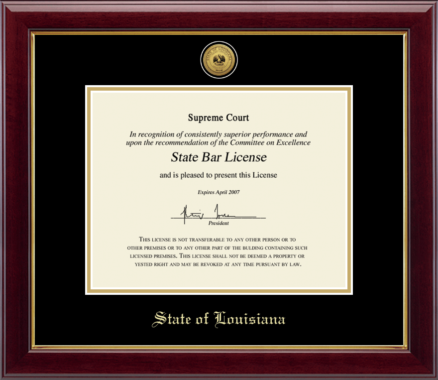 State Of Louisiana Gold Engraved Medallion Certificate Frame In Gallery