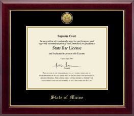 State of Maine Certificate Frame - Gold Engraved Medallion Certificate Frame in Gallery