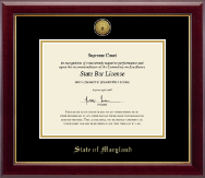 State of Maryland Certificate Frame - Gold Engraved Medallion Certificate Frame in Gallery