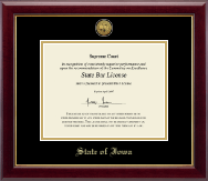 State of Iowa Certificate Frame - Gold Engraved Medallion Certificate Frame in Gallery