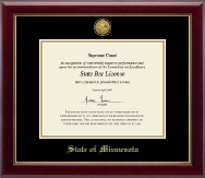 State of Minnesota Certificate Frame - Gold Engraved Medallion Certificate Frame in Gallery