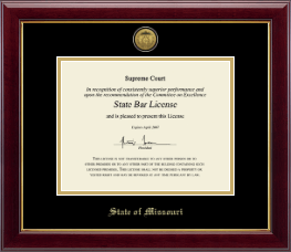 State of Missouri Certificate Frame - Gold Engraved Medallion Certificate Frame in Gallery