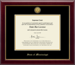 State of Mississippi Certificate Frame - Gold Engraved Medallion Certificate Frame in Gallery