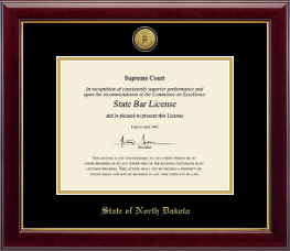 State of North Dakota Certificate Frame - Gold Engraved Medallion Certificate Frame in Gallery