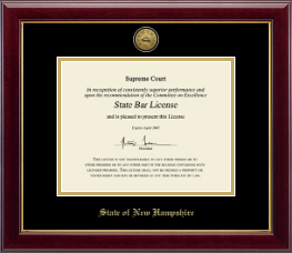 State of New Hampshire Certificate Frame - Gold Engraved Medallion Certificate Frame in Gallery
