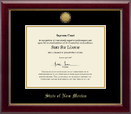 State of New Mexico Certificate Frame - Gold Engraved Medallion Certificate Frame in Gallery