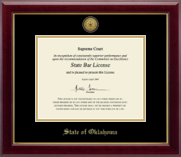 State of Oklahoma Certificate Frame - Gold Engraved Medallion Certificate Frame in Gallery