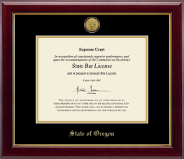 State of Oregon Certificate Frame - Gold Engraved Medallion Certificate Frame in Gallery