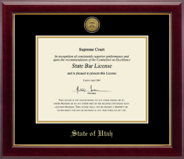 State of Utah Certificate Frame - Gold Engraved Medallion Certificate Frame in Gallery