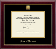 State of Vermont Certificate Frame - Gold Engraved Medallion Certificate Frame in Gallery