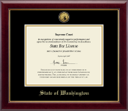 State of Washington Certificate Frame - Gold Engraved Medallion Certificate Frame in Gallery