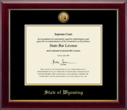 State of Wyoming Certificate Frame - Gold Engraved Medallion Certificate Frame in Gallery