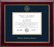 Phillips Academy Andover Diploma Frame - Gold Embossed Diploma Frame in Gallery