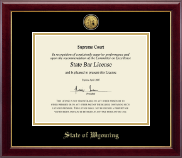 University of Wyoming Certificate Frame - Gold Engraved Medallion Certificate Frame in Gallery
