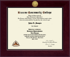 Broome Community College Diploma Frame - Century Gold Engraved Diploma Frame in Cordova