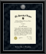 University of Virginia Diploma Frame - Silver Engraved Medallion Diploma Frame in Onyx Silver