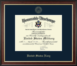 United States Navy Certificate Frame - US Navy Honorable Discharge Certificate Frame in Studio Gold