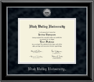 Utah Valley University Diploma Frame - Silver Engraved Medallion Diploma Frame in Onyx Silver