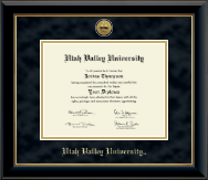 Utah Valley University Diploma Frame - Gold Engraved Medallion Diploma Frame in Onyx Gold