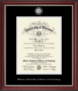 Missouri University of Science and Technology Diploma Frame - Masterpiece Medallion Diploma Frame in Kensington Silver